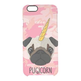 Pugicorn Pug Face Unicorn Funny Meme Camo Animal Clear iPhone 6/6S Case
