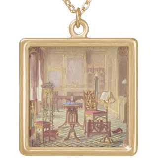 Pugin's Gothic Furniture, by Augustus Charles Pugi Gold Plated Necklace