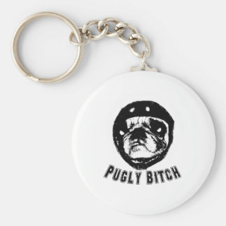 pugly basic round button key ring
