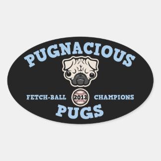 Pugnacious Pugs Oval Sticker