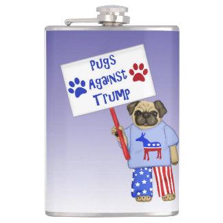 Pugs against Trump Hip Flask