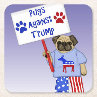 Pugs against Trump Square Paper Coaster