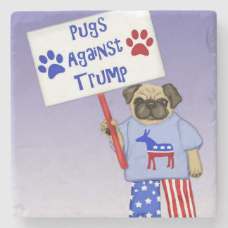 Pugs against Trump Stone Coaster