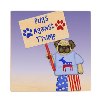Pugs against Trump Wood Coaster
