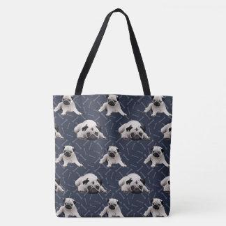 Pugs and Bones on Dark Blue Tote Bag