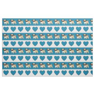 Pugs and Hearts - Blue Fabric