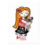 Pugs and Hugs Postcard