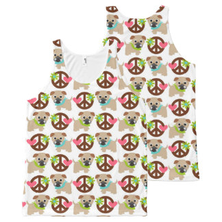 Pugs and Peace Signs All-Over Print Tank Top
