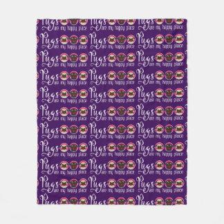 Pugs Are My Happy Place Purple Fleece Blanket