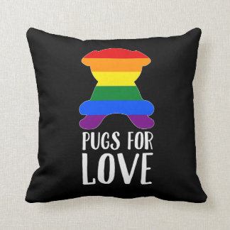 Pugs For Love Celebrates Gay Pride Black Throw Pillow