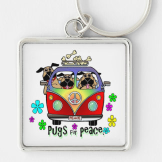 Pugs For Peace Key Chain