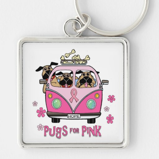 Pugs for Pink Key Chain