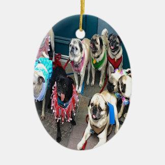 Pugs Galore Ceramic Ornament