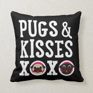 Pugs & Kisses XOXO Black Square Pug Pillow