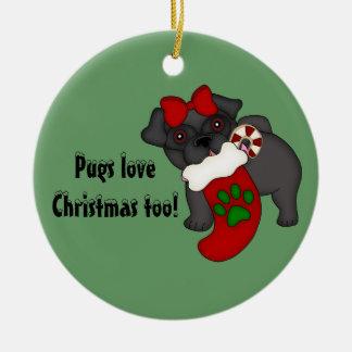 Pugs Love Christmas too! #3 Ornament
