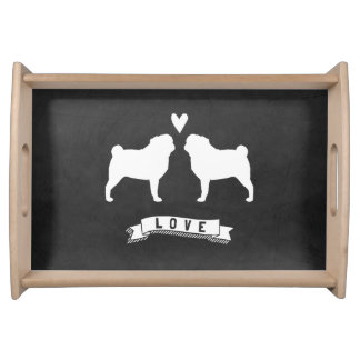 Pugs Love - Dog Silhouettes with Heart Serving Tray