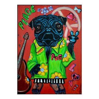 Pugs Love Peace Poster