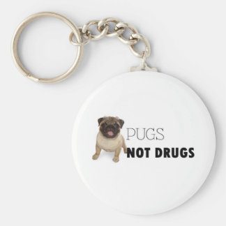 Pugs Not Drugs Basic Round Button Key Ring