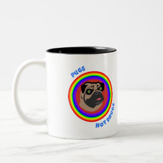 Pugs Not Drugs! On Mugs! Two-Tone Coffee Mug
