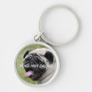 Pugs not drugs, pug dog cute photo keychain