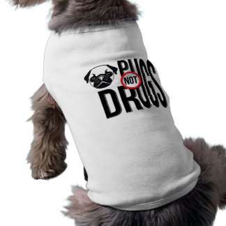 Pugs Not Drugs Typography Graphics Doggie Tee Shirt