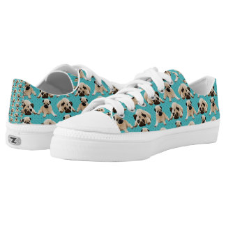 Pugs on Aqua Low Tops