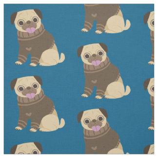 Pugs on Blue Background Fabric