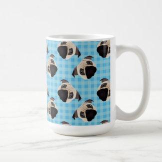 Pugs on Blue Checks 2 Coffee Mug