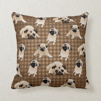 Pugs on Brown and Tan Plaid Cushion