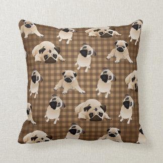 Pugs on Brown and Tan Plaid Throw Pillow