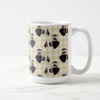 Pugs On Tan Diamonds Coffee Mug