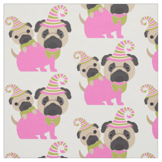 Pugs - Pink and Green Fabric