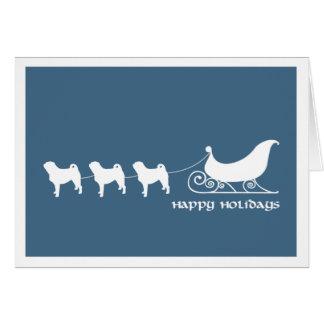 Pugs Pulling Santa s Sleigh Greeting Card