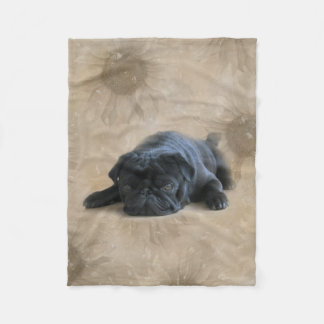 Pugs: Sunflower Black Pug Lover Dog Fleece Blanket