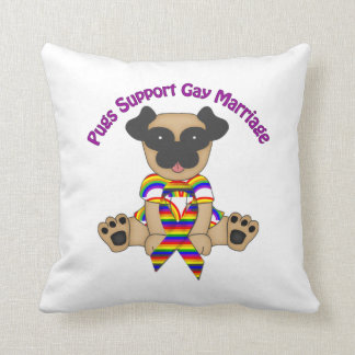 Pugs Support Gay Marriage Cushions