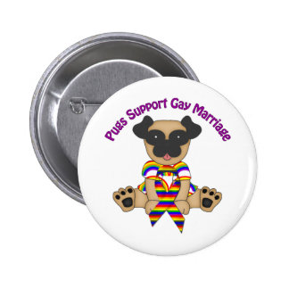 Pugs Support Gay Marriage Tees and Gifts Pins