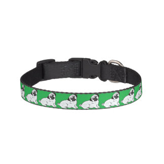 Pugs with Green Pattern Dog Collar