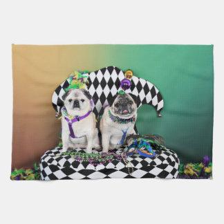 Pugsgiving Mardi Gras 2015 - Pippin Fugoh - Pugs Tea Towel