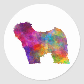 Puli in watercolor classic round sticker