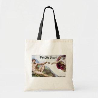 Pull My Finger - Michelangelo Creation Fart Humor Budget Tote Bag