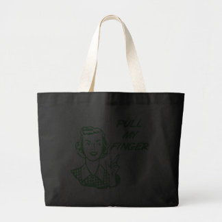 Pull My Finger Retro Housewife Green Tote Bags