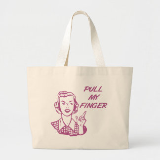 Pull My Finger Retro Housewife Pink Jumbo Tote Bag