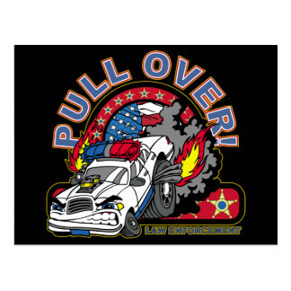 Pull Over Cop Car Postcard