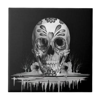 Pulled sugar, melting sugar skull tile