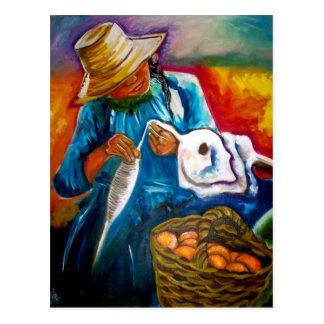 Pulling Cotton Postcard