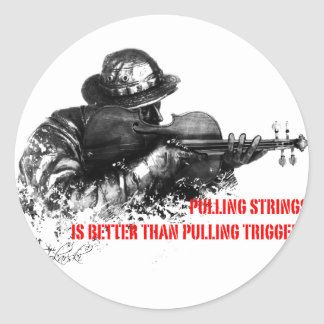 Pulling strings violin classic round sticker