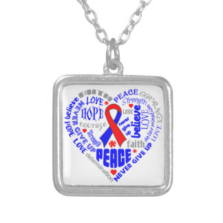 Pulmonary Fibrosis Awareness Heart Words Square Pendant Necklace