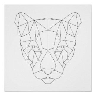 Puma Head Geometric Black & White Modern Art Print