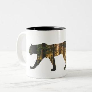 Puma in Forest Two-Tone Coffee Mug