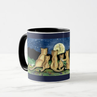 Puma Mountain Lion Family and Moon Designer Mug